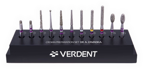 CROWN PREPARATION SET BY DR A.ZAVADKA /Сет за прагова препарация на корони с  автоклавируем метален статив